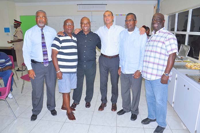 "rom left in the photo are: Oscar Munroe, Island Administrator; Sherrick Ellis a Bimini resident; Hon. Obie Wilchcombe; Mr. Vandekreeke; Hon. Fred Mitchell; and Lloyd ""Duda"" Edgecombe, Bimini resident.   (BIS Photo/Vandyke Hepburn)"