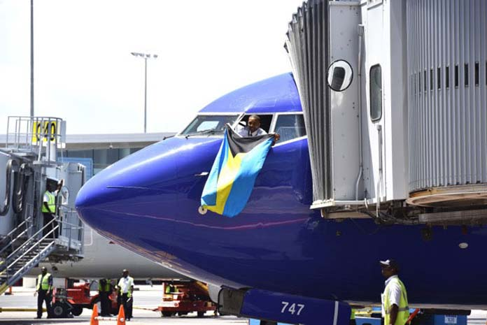 Southwest lands at LPIA with a Bahamian pilot onboard.