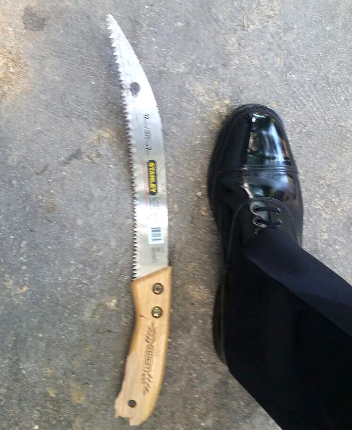 Weapon used against the police called in to help a woman.