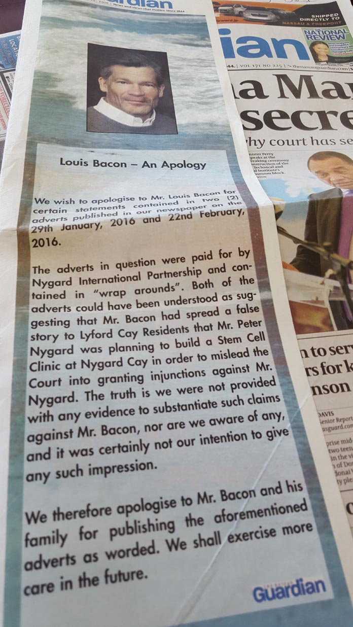 Guardian keeps apologizing to Fred Smith's client Louis Bacon.