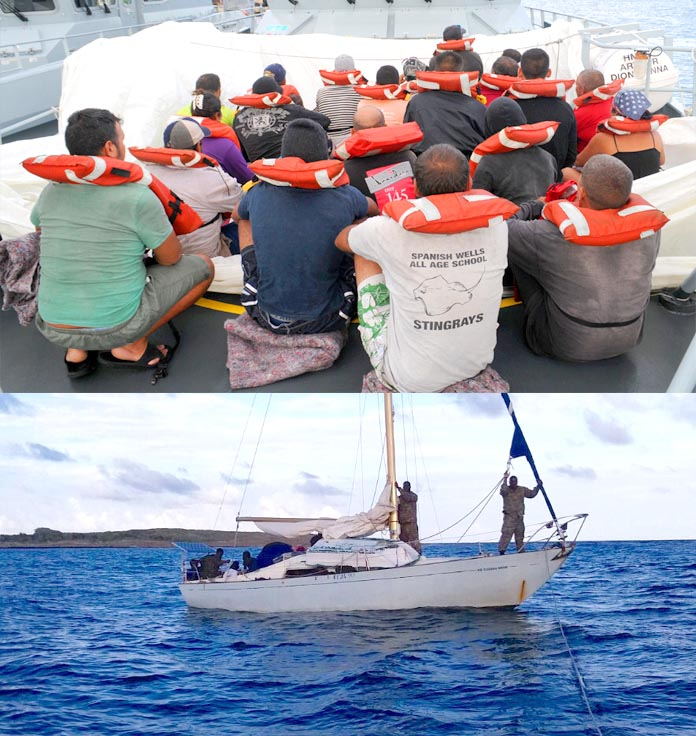 Cuban and Haitian nationals caught by Defence Force Marines.