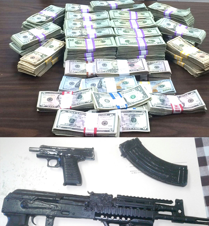 Money and weapon seized in Long Island.
