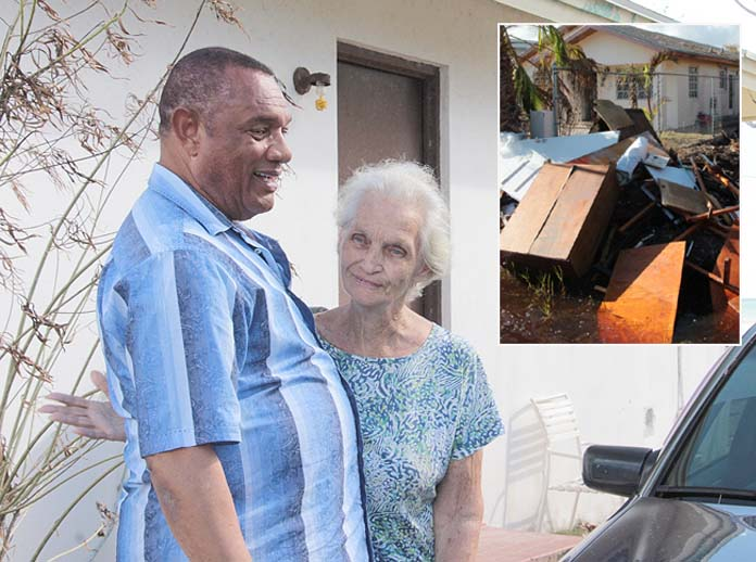 Prime Minister Christie visit residents in Southern New Providence affected in the passage of Hurricane Matthew