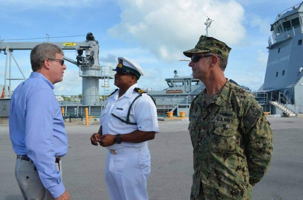 Key West City Manager Jim Scholland Lt. Commander John 'Stormy' Fairweather greeted by  Fleet Commander Bethel.