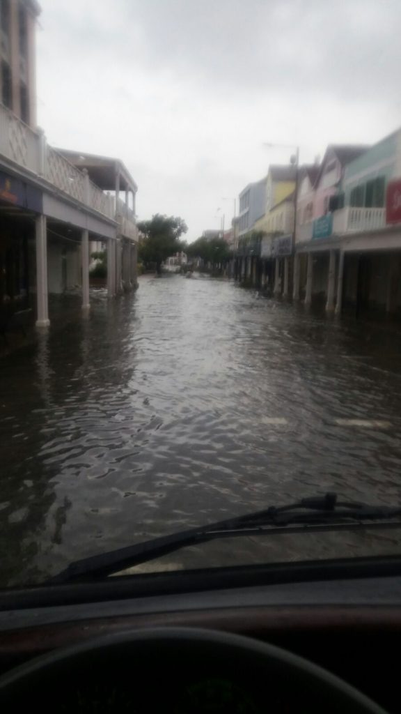 Bay Street dangerously flooded.