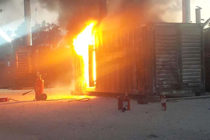 Fire at generator at BPL.