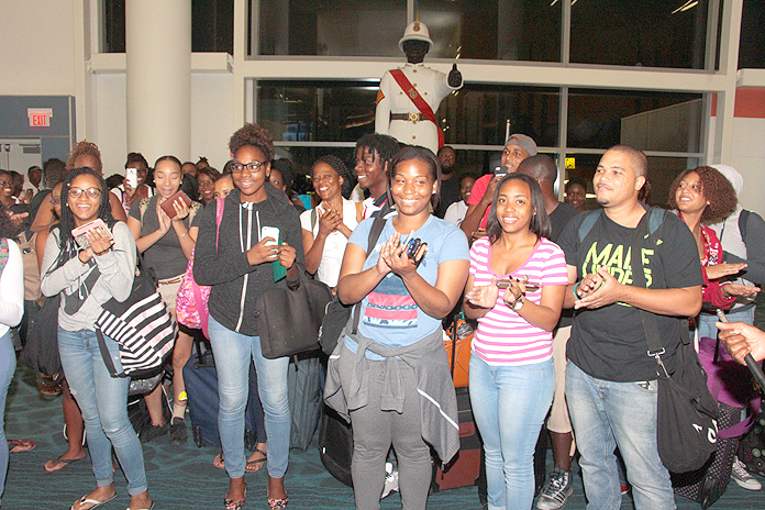 Students studying in Jamaica came home Saturday night ahead of the impact of Hurricane Matthew on that island.  A Bahamasair flight, accommodating 120, left Norman Manley International Airport in Kingston last night and brought them into LPIA, where they were welcomed home by Prime Minister the Rt. Hon. Perry Christie, other officials, and family.  (BIS Photos/Eric Rose)