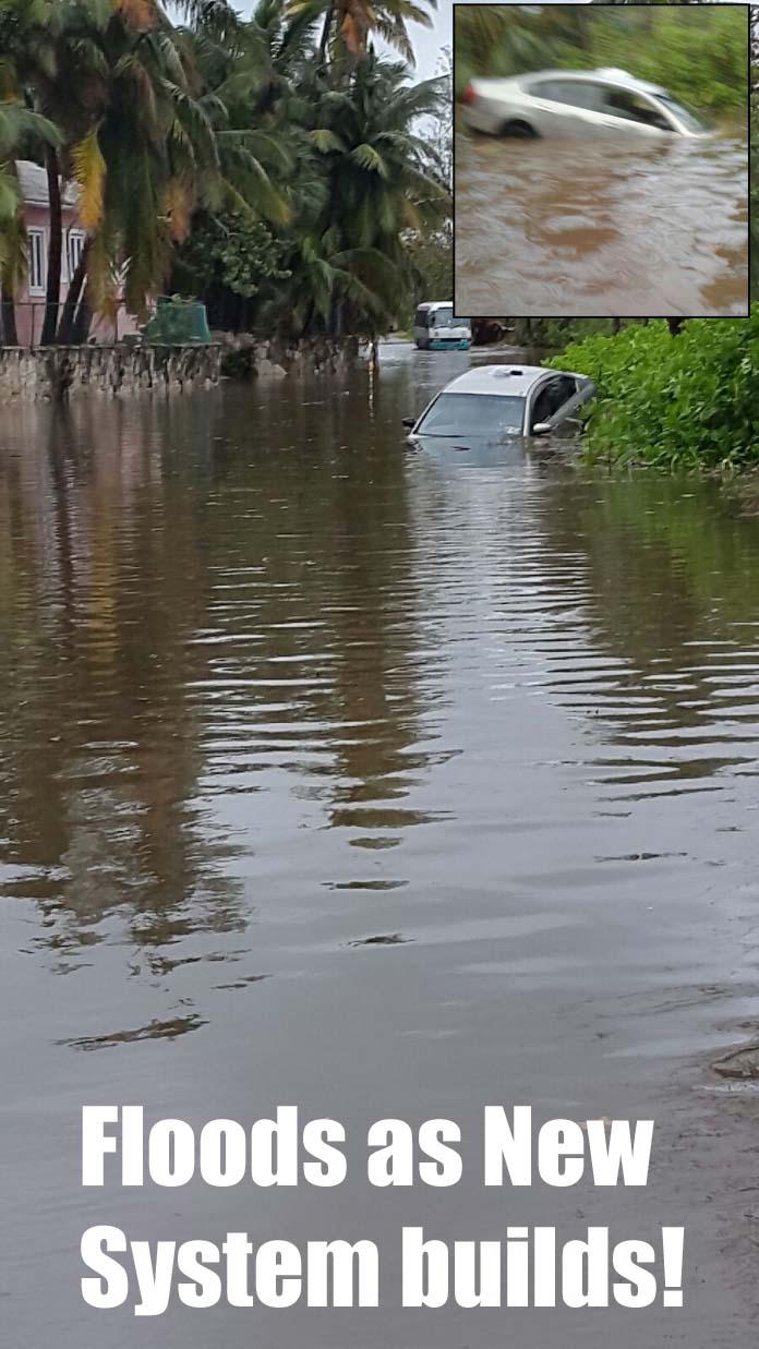 Flooded streets near the Sun Fun Resort on West Bay Street on New Providence SUnday.