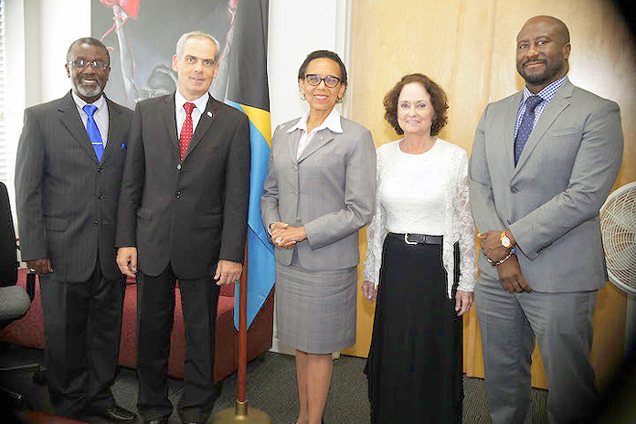 Left to right PS Ambassador Jonathan Peled, AG, Honorary Consul to Israel Talia Glantz and Director of Public Prosecution Garvin Gaskin.