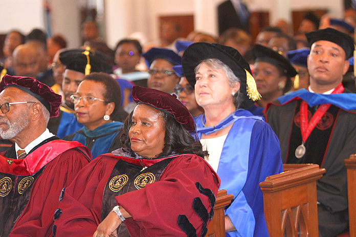 Members of the Faculty in the audience at the Service of Thanksgiving on the Occasion of the Charter Day for the University of The Bahamas.  (BIS Photos/Patrick Hanna)