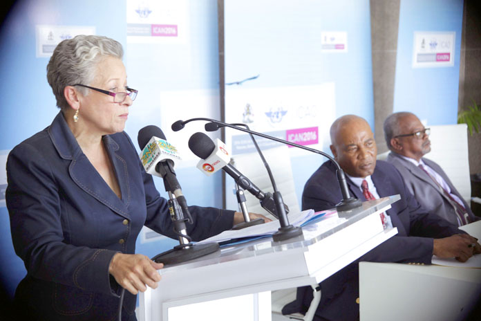 Transport & Aviation Minister the Hon. Glenys Hanna Martin addresses the Monday press conference announcing ICAO meetings in December.  (BIS Photos/Derek Smith)