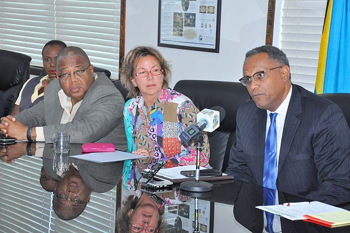 POST CRISIS MANAGEMENT SEMINARS - A series of seminars will be held on Thursday and Friday, for residents of Grand Bahama this week to assist with personal and professional restoration following the devastation of Hurricane Matthew. Shown from left during a press conference at the Ministry for Grand Bahama on Monday, October 31, 2016 are: Kevin Seymour, president of the Grand Bahama Chamber of Commerce; Sarah St. George, Vice-Chairman of the Grand Bahama Port Authority; and Minister for Grand Bahama, the Hon. Dr. Michael Darville. (BIS Photo/Vandyke Hepburn)