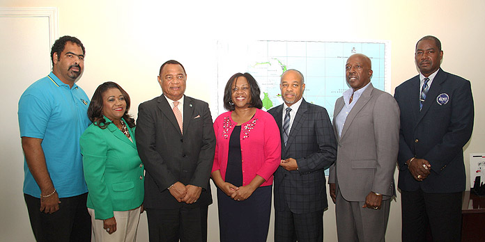 First Baptist Church in Upper Marlboro, Maryland, donated $25,000 towards the Hurricane Matthew recovery efforts, during a presentation at the National Emergency Management Agency, NEMA on Thursday, November 17, 2016. Pictured from left to right are: Gowon Bowe of the disaster relief fund committee, responsible for accounting and fund raising; Paulette Zonicle, The Bahamas Consul General to Washington; the Rt. Hon. Perry Christie, Prime Minister; Mrs. Trina Jenkins; Pastor John Jenkins Sr., First Baptist Church; the Hon. Shane Gibson, Minister responsible for Recovery and Restoration; and Captain Stephen Russell, Director, NEMA.  (BIS Photo/Patrick Hanna)