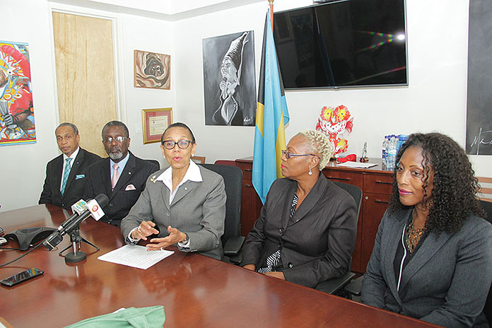 Attorney General and Minister of Legal Affairs Senator the Hon. Allyson Maynard Gibson, with staff members at the Office of the Attorney General, November 1, 2016.   (BIS Photo/Raymond A. Bethel, Sr.)