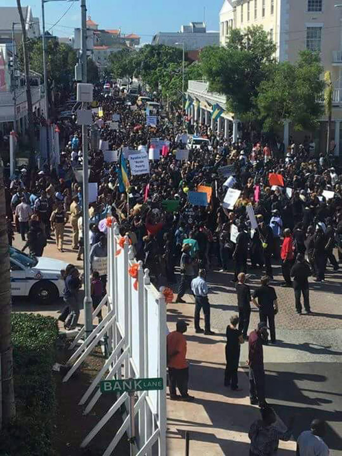 Protesters march against politicians on Black Friday.