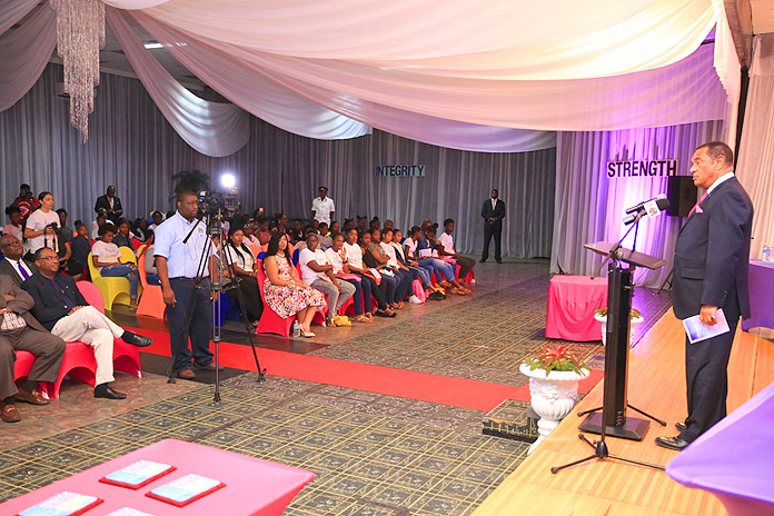 Prime Minister Perry Christie was the keynote speaker at the Sisters for Strength Empowerment Conference, which was held on Saturday, November19, 2016 in Freeport, Grand Bahama. The Prime Minister encouraged over two hundred girls to dare to dream big and to believe in themselves.  (BIS Photo/Lisa Davis)