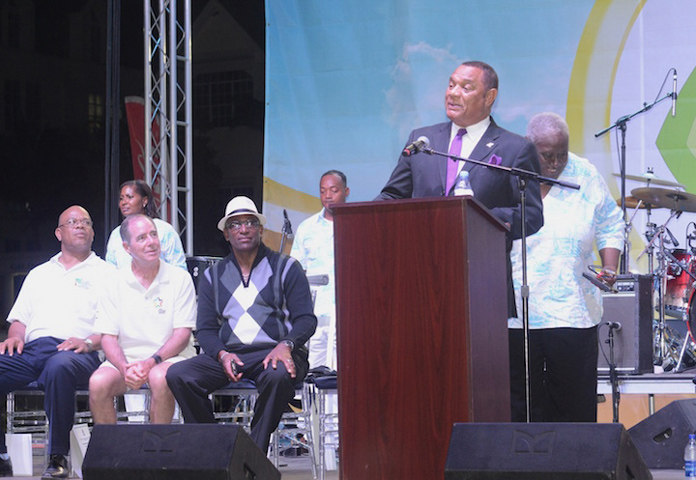 Prime Minister Christie addresses the audience at the Best of the Best Regatta Event at Montaqu Bay.